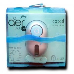 Godrej Aer Click Gel Cool Surf Blue Car Fragrance Starter+Refill 11 Ml